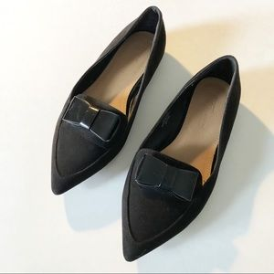 ASOS Black Suede Pointy Toe Flat Loafer w Bow Sz 6